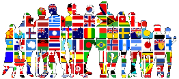 inernational flags on people